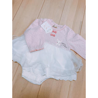 ❤️新品 ベビー服 ワンピース風 カバーオール 80cm❤️(カバーオール)