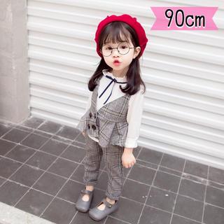 《90cm》新品♡女の子 グレンチェック フォーマルスーツ♡ビスチェ 3点セット(ドレス/フォーマル)
