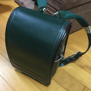 本革 ランドセル 緑茶 スレ、小傷有りますが全体的に綺麗です!(ランドセル)