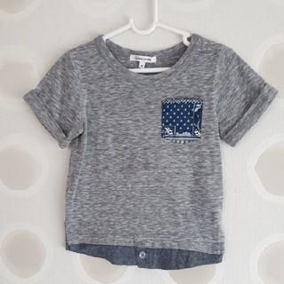 グローバルワーク(GLOBAL WORK)の【GROBAL WORK】レイヤード半袖Tシャツ グレー size100(Tシャツ/カットソー)
