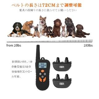 しつけ用首輪 無駄吠え防止首輪  リモコン付き 500メートル通信可能全犬種対応(リード/首輪)