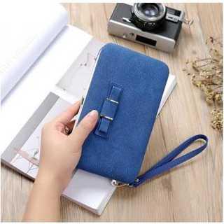 スマホケース ブルー 財布 カード入れ ストラップ付き リボン レザー 耐衝撃