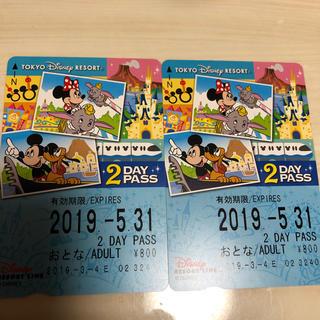 ディズニー(Disney)のディズニーリゾートライン 2dayパス乗り放題2つ(鉄道乗車券)