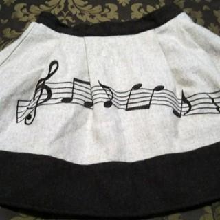 アンクルージュ(Ank Rouge)のAnkRouge♥茶×ベージュ♥おんぷ柄♥メチャ素敵な♥冬♥スカート(ミニスカート)