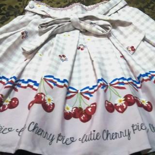 アンクルージュ(Ank Rouge)のAnkRouge♥白×ピンク♥さくらんぼリボン●素敵な♥ツルっと柔らか♥スカート(ミニスカート)