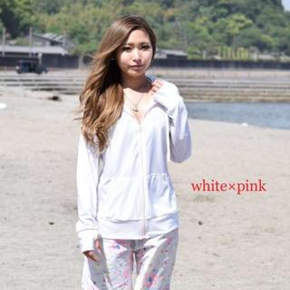 【高品質】UPF50+ ランニングウェア ホワイト×ピンク L-LL(マリン/スイミング)
