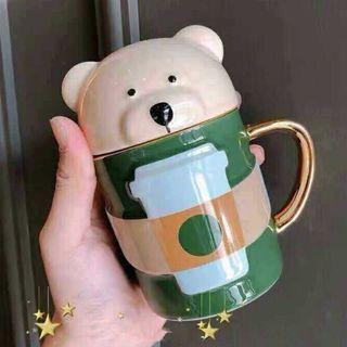 スターバックスコーヒー(Starbucks Coffee)のスタバ ベアリスタ マグカップ 可愛い カバー付 熊 蓋  タンブラー 海外限定(グラス/カップ)