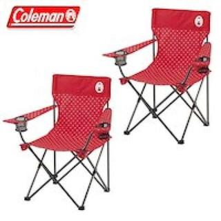 売れてます! コールマン リゾートチェア 2脚セット レッド 赤 ドット 椅子(テーブル/チェア)