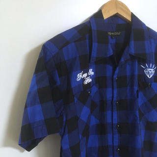 アリーアンドダイア(ALLY & DIA)の【良品】Ally&Dia バックプリントチェックシャツ 刺繍 ロゴ ストリート(シャツ)