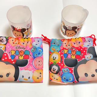 ディズニー(Disney)の【未使用】ツムツム   コップ  巾着袋   2点セット(マグカップ)