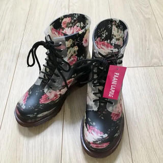 PAANILAPULE 防水レインブーツ ブラックフラワー M(レインブーツ/長靴)