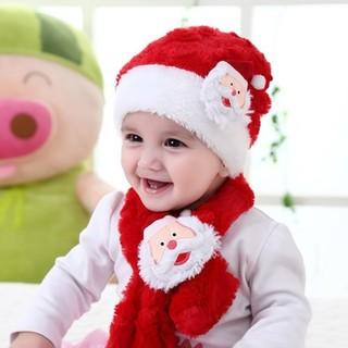 2点セット 子供 赤ちゃん サンタクロース フリース帽子 マフラ-  (その他)