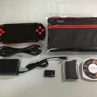 プレイステーションポータブル(PlayStation Portable)の美品 PSP-3000 ブラック/レッド(携帯用ゲーム本体)