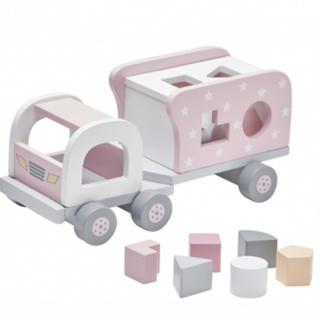 BorneLund - Kids Concept 木製おもちゃ 型はめトラック ピンク