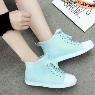 ■23.5cm 水色 レインシューズ 雨靴 梅雨 スニーカータイプ(レインブーツ/長靴)