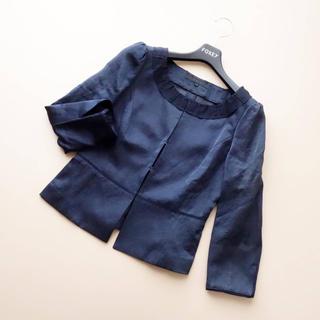 アナイ(ANAYI)の■アナイ■ 36 濃紺系 フリル ジャケット ANAYI (ノーカラージャケット)