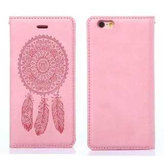 アユーラ(AYURA)のスマホ ケース ピンク 民族柄 iPhone7 手帳型 おしゃれ PUレザー(iPhoneケース)