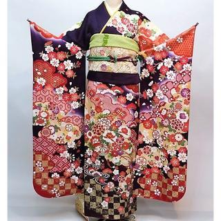 振袖 正絹 新品 着物単品 仕立て上がり 紫色 NO30134(振袖)