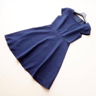 アナイ(ANAYI)の■アナイ■ 36 紺ツイード フレアワンピース ANAY(ひざ丈ワンピース)