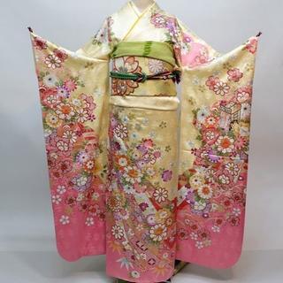振袖 正絹 新品 着物単品 仕立て上がり 黄色×ピンク NO30129(振袖)