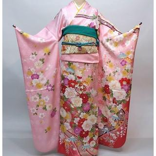 振袖 正絹 新品 着物単品 仕立て上がり ピンク NO30128(振袖)