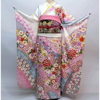 振袖 正絹 新品 着物単品 仕立て上がり 白 ピンク NO30132(振袖)
