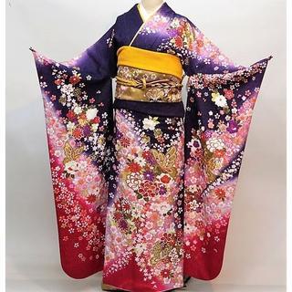 振袖 正絹 新品 着物単品 仕立て上がり 紫色 NO30136(振袖)