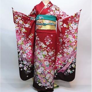 振袖 正絹 新品 着物単品 仕立て上がり 赤色 ラメ入り NO30133(振袖)
