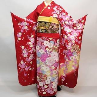 振袖 正絹 新品 着物単品 仕立て上がり 赤色 ラメ入りNO30126(振袖)
