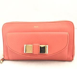 156d1baffb10 クロエ(Chloe)のChloeクロエ リリィ ピンクレザー ラウンドファスナー長財布(財布