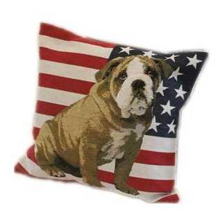 【新品】ワンちゃん 国旗 柄 クッション カバー  45x 45 アメリカ 犬(クッションカバー)