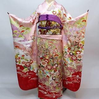 振袖 正絹 新品 着物単品 仕立て上がり ピンク NO30130(振袖)
