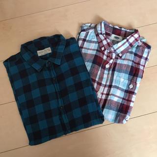 ザラ(ZARA)のZARA kids オールドネイビー チェックシャツ 2枚セット(ブラウス)