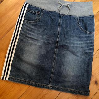 トミーヒルフィガー(TOMMY HILFIGER)のトミーヒルフィガーデニムスカートサイズ0美品ライン入り(ひざ丈スカート)