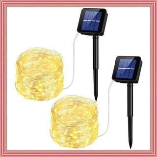 イルミネーションライト ソーラー充電式 100LED 2セット(蛍光灯/電球)