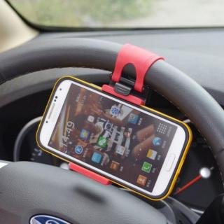 ハンドル用 携帯 ホルダー スマホ 自動車用 車載ホルダー ハンズフリー (車内アクセサリ)