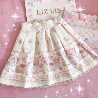 リズリサ(LIZ LISA)の☆リズリサLIZLISA☆大リボン付きウエストスカラップ☆ピクニック柄スカート☆(ミニスカート)