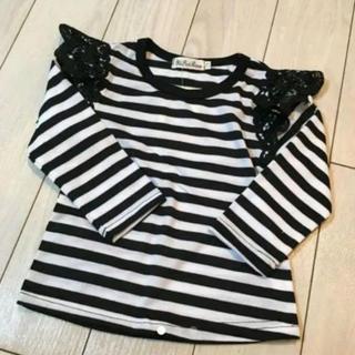 新品ボーダー長袖Tシャツ白×黒70cm送料無料ホワイトブラックベビー服女の子激安(Tシャツ)