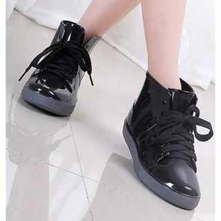 ★かわいい長靴★レインシューズ ショートブーツ 黒 23 ハイカットスニーカー(レインブーツ/長靴)
