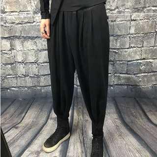 テーバードパンツ メンズ S〜2XL 黒 ワイド ガチョウパンツ AM017(サルエルパンツ)