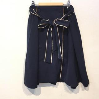 新品タグ付き! SunWind ウエストリボン ボタンスカート フレアスカート(ひざ丈スカート)