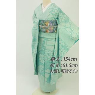 《豪華総絞り♪振袖◆波文に扇模様◆水色◆舞台衣装にも♪袷正絹着物◆RA3-3》(振袖)