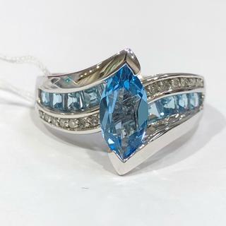 K14WG ブルートパーズ ダイヤモンド リング(リング(指輪))