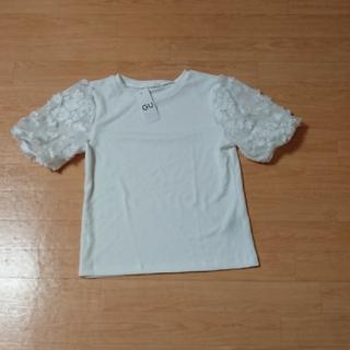 ジーユー(GU)のタグ付き未使用 GU レース カットソー(カットソー(半袖/袖なし))