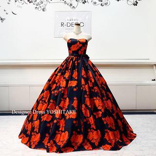 ウエディングドレス(パニエ無料) 濃紺ベース/赤い花柄 二次会/披露宴ドレス(ウェディングドレス)