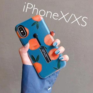 アップル(Apple)のすぐ売切れ♡新品☆iPhoneX/XS♡アプリコット♡フルーツがら♡(iPhoneケース)