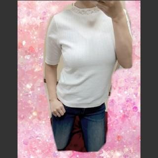 ジーユー(GU)のGU♡ビジュー付 半袖カットソー(カットソー(半袖/袖なし))
