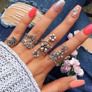 大特価!桜・梅・桔梗・薔薇のステンレスリング 四つ指揃い16~20号相当(リング(指輪))