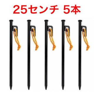 未使用品 スチールペグ 25センチ 5本(テント/タープ)