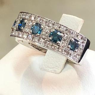 ♦新品♦pt900♦ダイヤ1.0ct☆ブルーダイヤリング(12号)♦(リング(指輪))